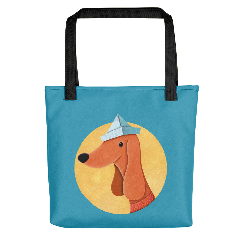 Dog with Paper Hat | Blue | Tote Bag-tote bags-Black-Eggenland