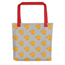 Load image into Gallery viewer, Yellow Cat Pattern | Grey | Tote Bag-tote bags-Red-Eggenland