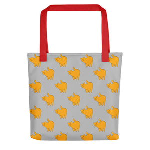 Yellow Cat Pattern | Grey | Tote Bag-tote bags-Red-Eggenland