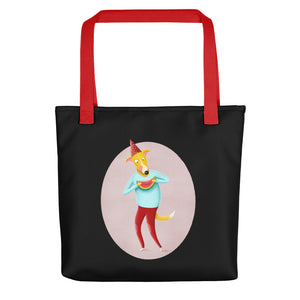 Dog with Watermelon | Black | Tote Bag-tote bags-Red-Eggenland