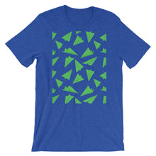 Load image into Gallery viewer, Paper Planes Pattern | Green | Short-Sleeve Unisex T-Shirt-t-shirts-Heather True Royal-S-Eggenland