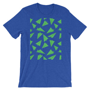 Paper Planes Pattern | Green | Short-Sleeve Unisex T-Shirt-t-shirts-Heather True Royal-S-Eggenland