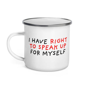 Right To Speak Up | Enamel Mug-enamel mugs-Eggenland
