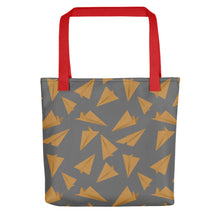 Load image into Gallery viewer, Paper Planes Pattern | Grey and Golden | Tote Bag-tote bags-Red-Eggenland