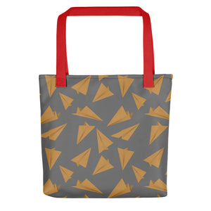 Paper Planes Pattern | Grey and Golden | Tote Bag-tote bags-Red-Eggenland
