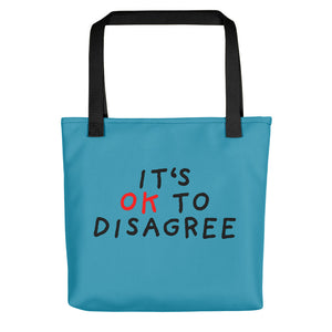 It's OK to Disagree | Blue | Tote Bag-tote bags-Black-Eggenland