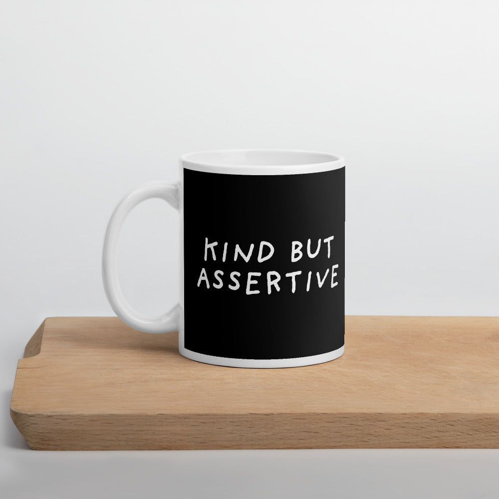 Kind But Assertive | Black | Mug-mugs-11oz-Eggenland