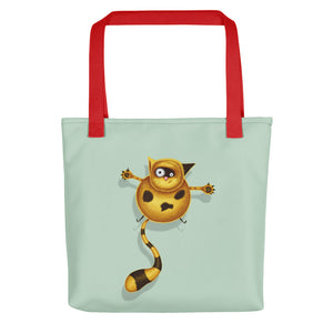 Fat Cat | Light Green | Tote Bag-tote bags-Red-Eggenland