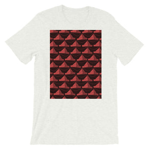 Paper Hats Pattern | Dark Red | Short-Sleeve Unisex T-Shirt-t-shirts-Ash-S-Eggenland