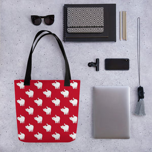 Cute Cat Pattern | Red and White | Tote Bag-tote bags-Eggenland