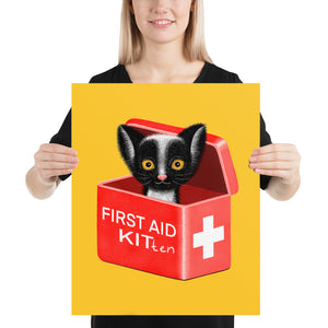 First Aid Kitten | Illustration | Yellow | Poster-posters-16×20-Eggenland