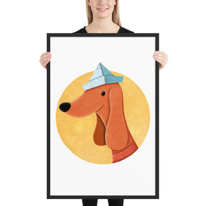 Dog With Newspaper Hat | Illustration | Framed Poster-framed posters-Black-24×36-Eggenland