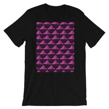 Load image into Gallery viewer, Paper Hats Pattern | Dark Pink | Short-Sleeve Unisex T-Shirt-t-shirts-Black Heather-S-Eggenland