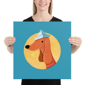Dog with Newspaper Hat | Poster-posters-18×18-Eggenland