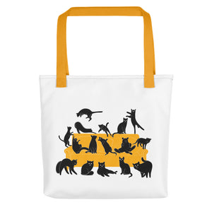 Black Cats Party | Tote Bag-tote bags-Yellow-Eggenland