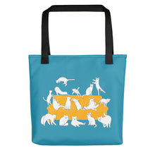 Load image into Gallery viewer, Cats Party | Blue | Tote Bag-tote bags-Black-Eggenland