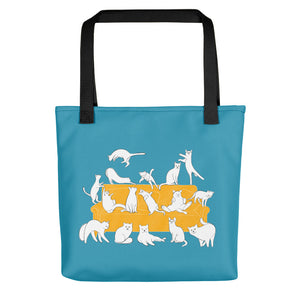 Cats Party | Blue | Tote Bag-tote bags-Black-Eggenland