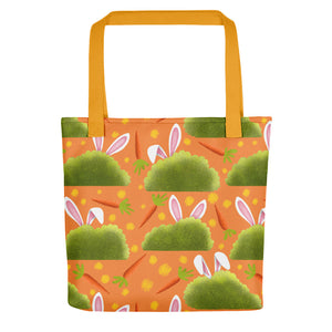 Rabbits and Carrots | Orange | Tote Bag-tote bags-Yellow-Eggenland