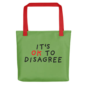 It's OK to Disagree | Green | Tote Bag-tote bags-Red-Eggenland