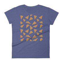 Load image into Gallery viewer, Paper Planes Pattern | Golden | Women's Short-Sleeve T-Shirt-t-shirts-Heather Blue-S-Eggenland