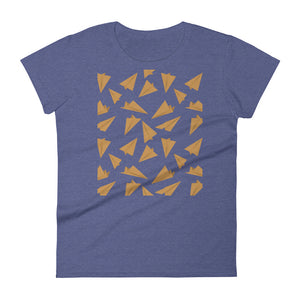 Paper Planes Pattern | Golden | Women's Short-Sleeve T-Shirt-t-shirts-Heather Blue-S-Eggenland