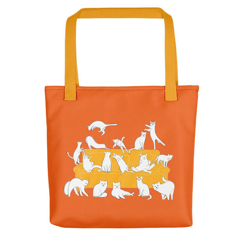 Cats Party | Orange | Tote Bag-tote bags-Yellow-Eggenland