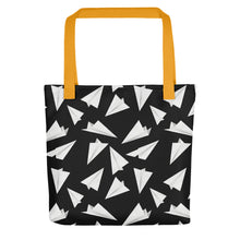 Load image into Gallery viewer, Paper Planes Pattern | Black and White | Tote Bag-tote bags-Yellow-Eggenland