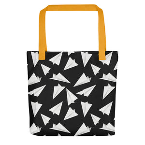 Paper Planes Pattern | Black and White | Tote Bag-tote bags-Yellow-Eggenland
