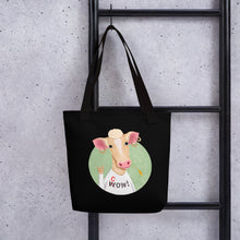 Load image into Gallery viewer, Wow Cow | Black | Tote Bag-tote bags-Eggenland