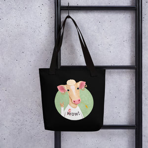 Wow Cow | Black | Tote Bag-tote bags-Eggenland