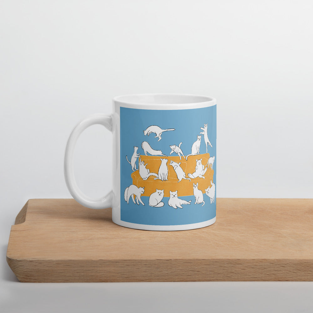 Cats Party | Blue | Mug-mugs-11oz-Eggenland