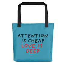Load image into Gallery viewer, Attention Is Cheap | Blue | Tote Bag-tote bags-Black-Eggenland