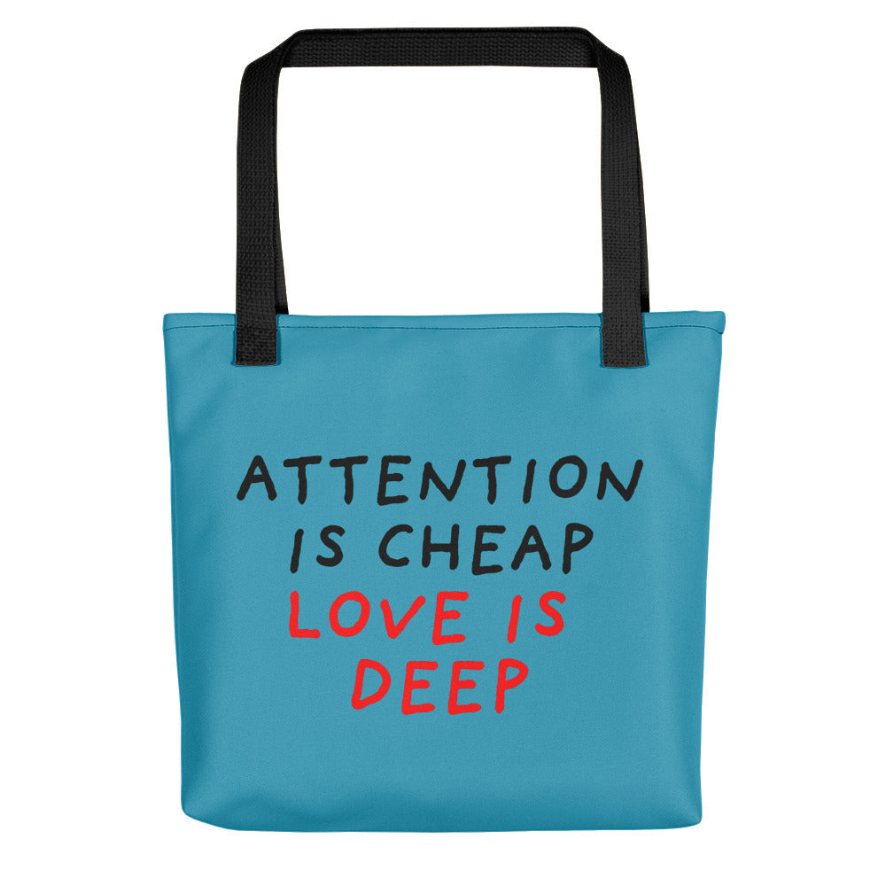Attention Is Cheap | Blue | Tote Bag-tote bags-Black-Eggenland