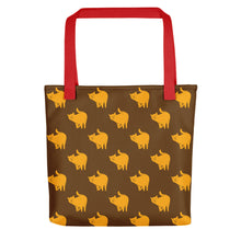 Load image into Gallery viewer, Yellow Cat Pattern | Brown | Tote Bag-tote bags-Red-Eggenland