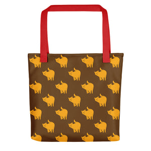 Yellow Cat Pattern | Brown | Tote Bag-tote bags-Red-Eggenland