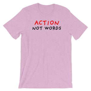 Action Not Words | Short-Sleeve Unisex T-Shirt-t-shirts-Heather Prism Lilac-S-Eggenland