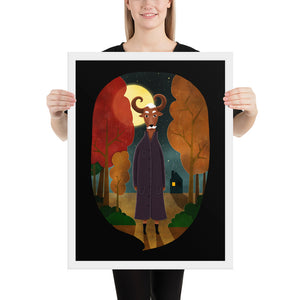 Deer Creature At Night | Illustration | Black | Framed Poster-framed posters-White-18×24-Eggenland