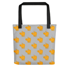 Load image into Gallery viewer, Yellow Cat Pattern | Grey | Tote Bag-tote bags-Black-Eggenland