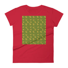 Load image into Gallery viewer, Flying Birds Pattern | Green | Women's Short-Sleeve T-Shirt-t-shirts-Red-S-Eggenland