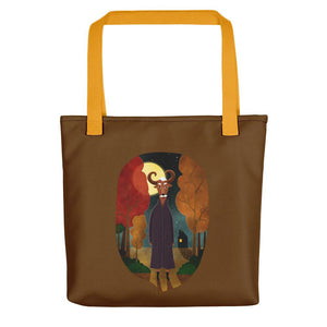 Deer Creature at Night | Brown | Tote Bag-tote bags-Yellow-Eggenland