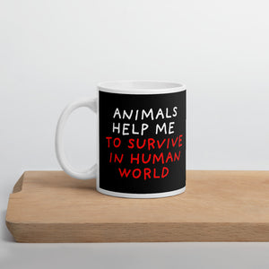 Animals Help Me | Black | Mug-mugs-11oz-Eggenland