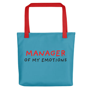 Manager of My Emotions | Blue | Tote Bag-tote bags-Red-Eggenland
