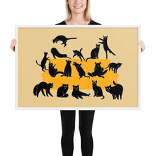 Load image into Gallery viewer, Black Cats Party | Cream | Illustration | Framed Poster-framed posters-White-24×36-Eggenland