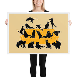 Black Cats Party | Cream | Illustration | Framed Poster-framed posters-White-24×36-Eggenland