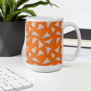 Paper Planes Pattern | Orange | Mug-mugs-Eggenland