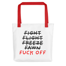 Load image into Gallery viewer, Five F of Fear | Tote Bag-tote bags-Red-Eggenland