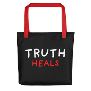 Truth Heals | Black | Tote Bag-tote bags-Red-Eggenland