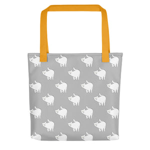 Cute Cat Pattern | Light Grey and White | Tote Bag-tote bags-Yellow-Eggenland