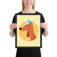 Load image into Gallery viewer, Dog With Newspaper Hat | Yellow | Illustration | Framed Poster-framed posters-Black-12×16-Eggenland