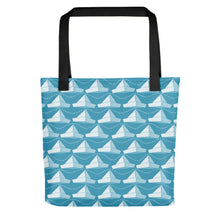 Load image into Gallery viewer, Newspaper Hats Pattern | Blue | Tote Bag-tote bags-Black-Eggenland